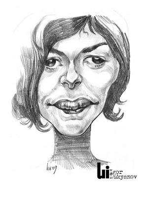 caricature actrice Audrey Tautou (Amelie)(hachures croisées)