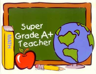 'Super Grade A+ Teacher' written on a chalk board