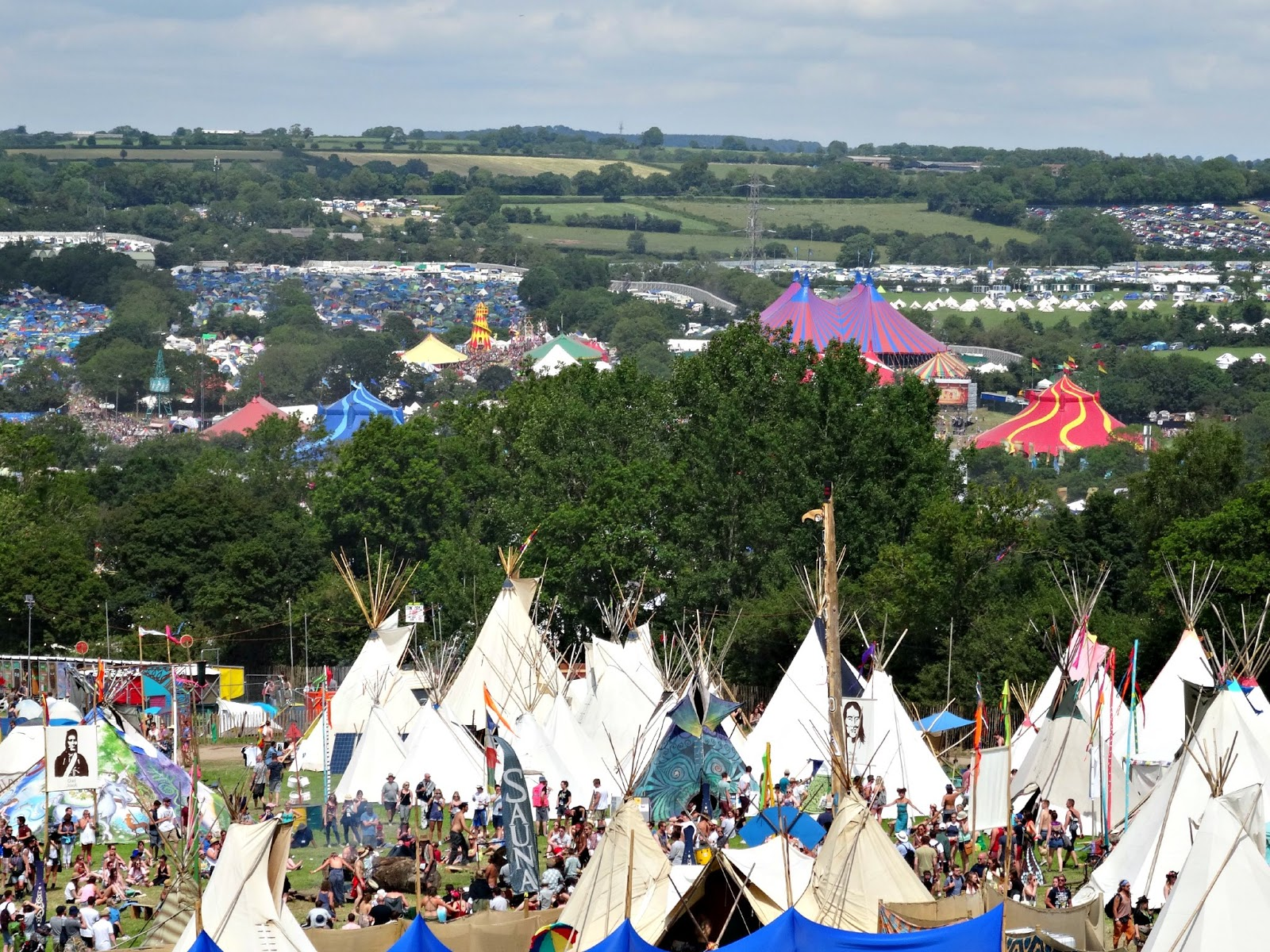 Glastonbury stages and campsite