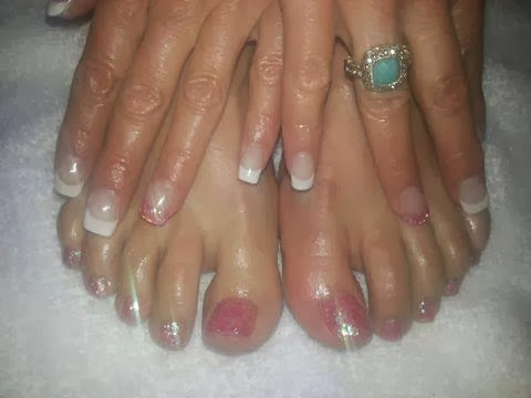 Gel backfill LED polish manicure pedicure  French white with custom pink glitz feat nails; custom gel glitz & glamrock toes Gel-Nails-Polish-LED-Polish-LED-Nails-Acrylic-Nails-Nail-Art