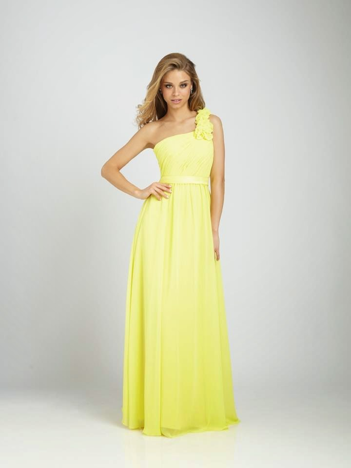 One Shouldered Yellow Bridesmaid Dress