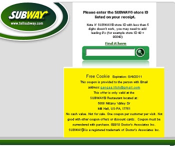 TellSubway.com :Tell Subway your feedback to get free cookie coupon code