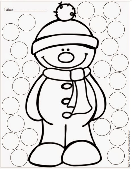 Fun winter worksheets together with winter bingo dot worksheets
