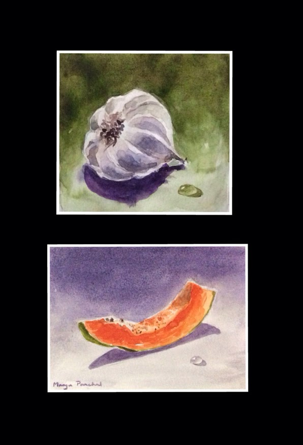 Garlic and slice of papaya done in watercolours by Manju Panchal