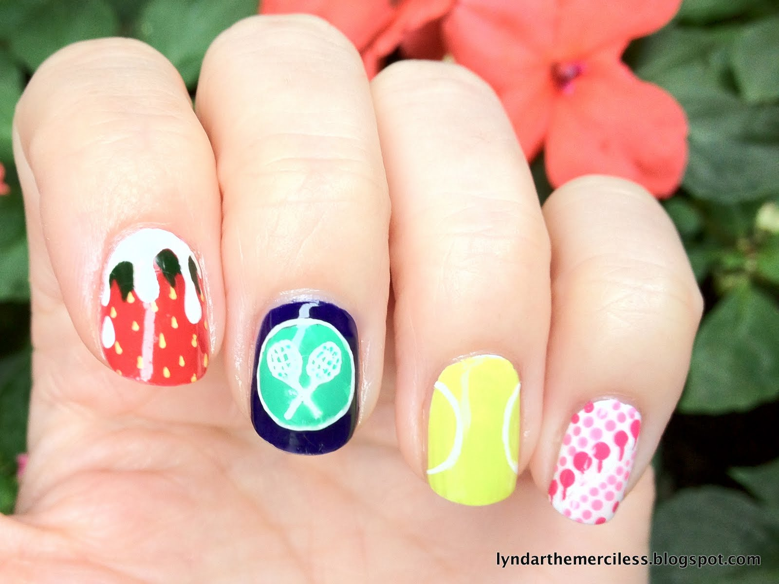 Lyndar the merciless mani monday grand slam the wimbledon crossed rackets logo a tennis ball and very randomly the wallpaper of the evian vip suite by ana maria design for this set of nails prinsesfo Choice Image