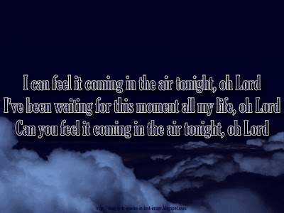 In The Air Tonight - Phil Collins Song Lyric Quote in Text Image