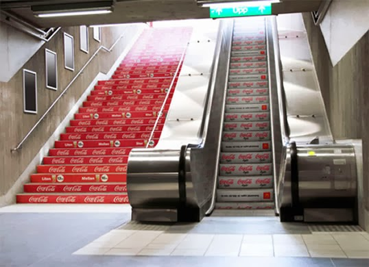 coca cola Ads on escalators