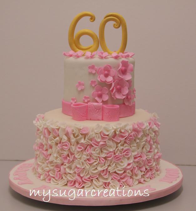 My Sugar Creations 001943746M Pink Ruffle 60th Birthday Cake