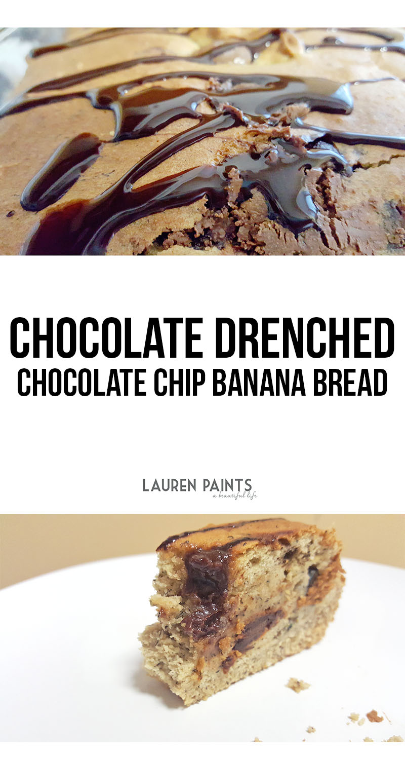 Treat yourself to this delicious Chocolate Drenched Chocolate Chip Banana Bread!