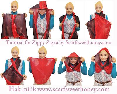 Cara Memakai Shawl Zippy Zayra Style 1