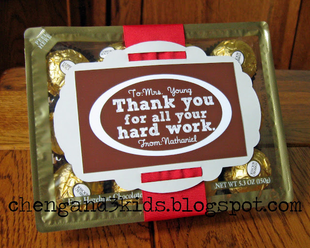 This is our gift for my son's teacher for Teacher Appreciation Day, they are Ferrero Rocher chocolates with customized gift tags.