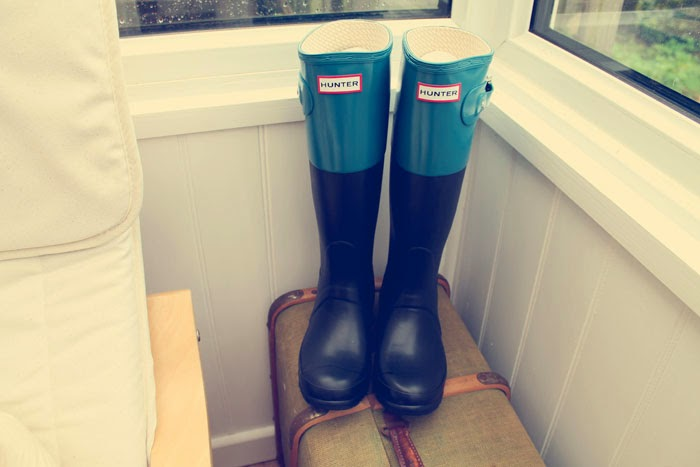multicoloured hunter wellies