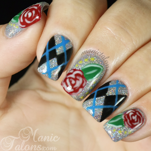 Argyle and Roses Nail Art