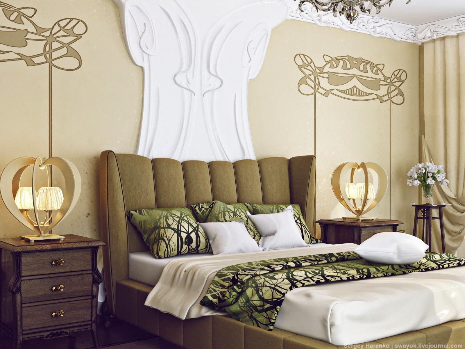 Interior design art nouveau bedroom part 3 for Art nouveau interior design bedroom