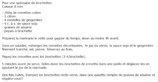 image recette Brochettes de crevettes marinées soja-gingembre
