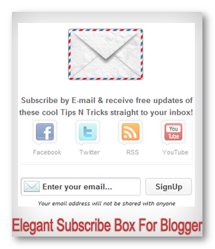 Subscribe By Email Widget For Blogger