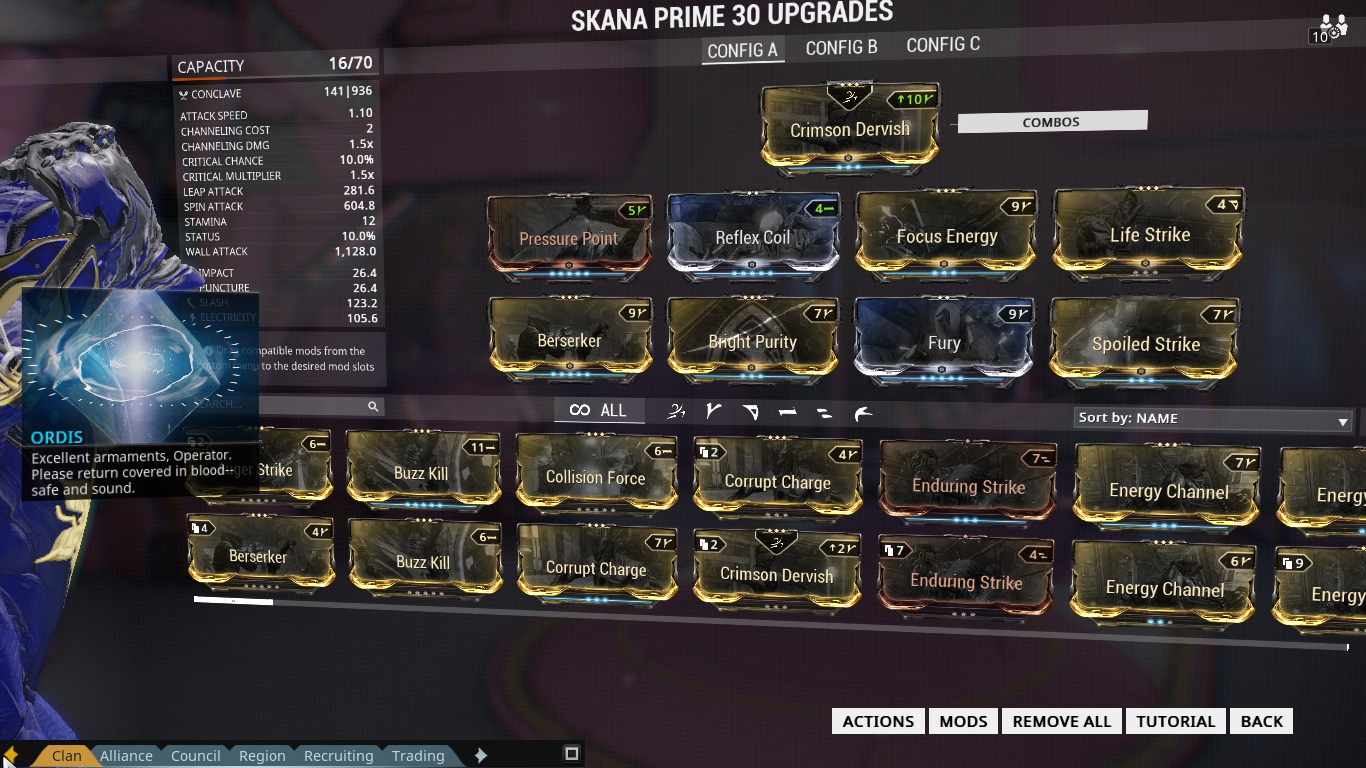 Warframe Excalibur Exalted Blade Weapon Build