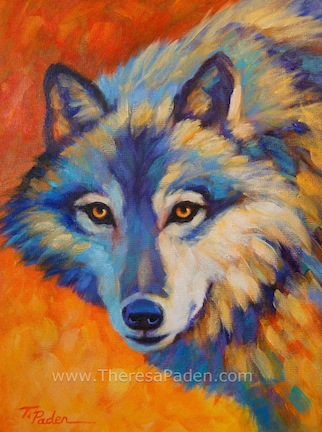 Paintings by Theresa Paden: Colorful Contemporary Wolf ... Colorful Wolf Painting