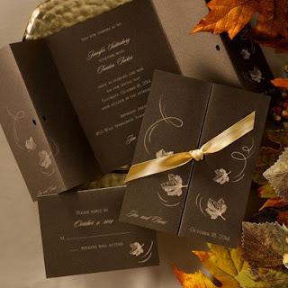 Ecru autumn invitations