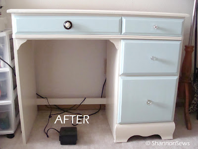 Use sturdy thrift furniture for sewing table
