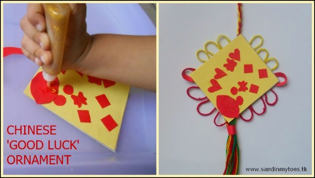 Chinese Good Luck Ornament - toddler craft for Chinese New Year.