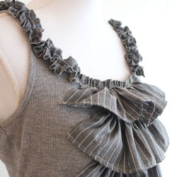 upcycled shirts into a ruffled top