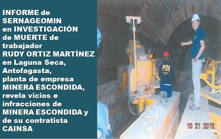 Datos investigación de la muerte de Rudy Ortiz Martínez.