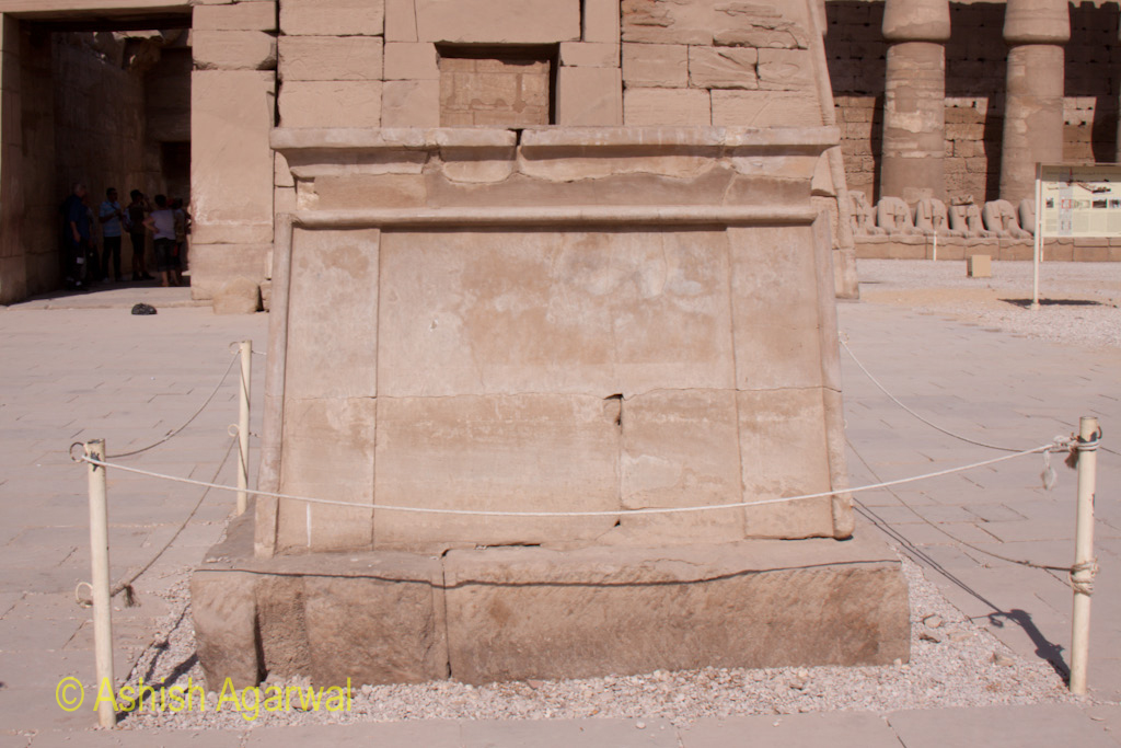 The remaining base (pedestral) of a statue inside the Karnak temple in Luxor