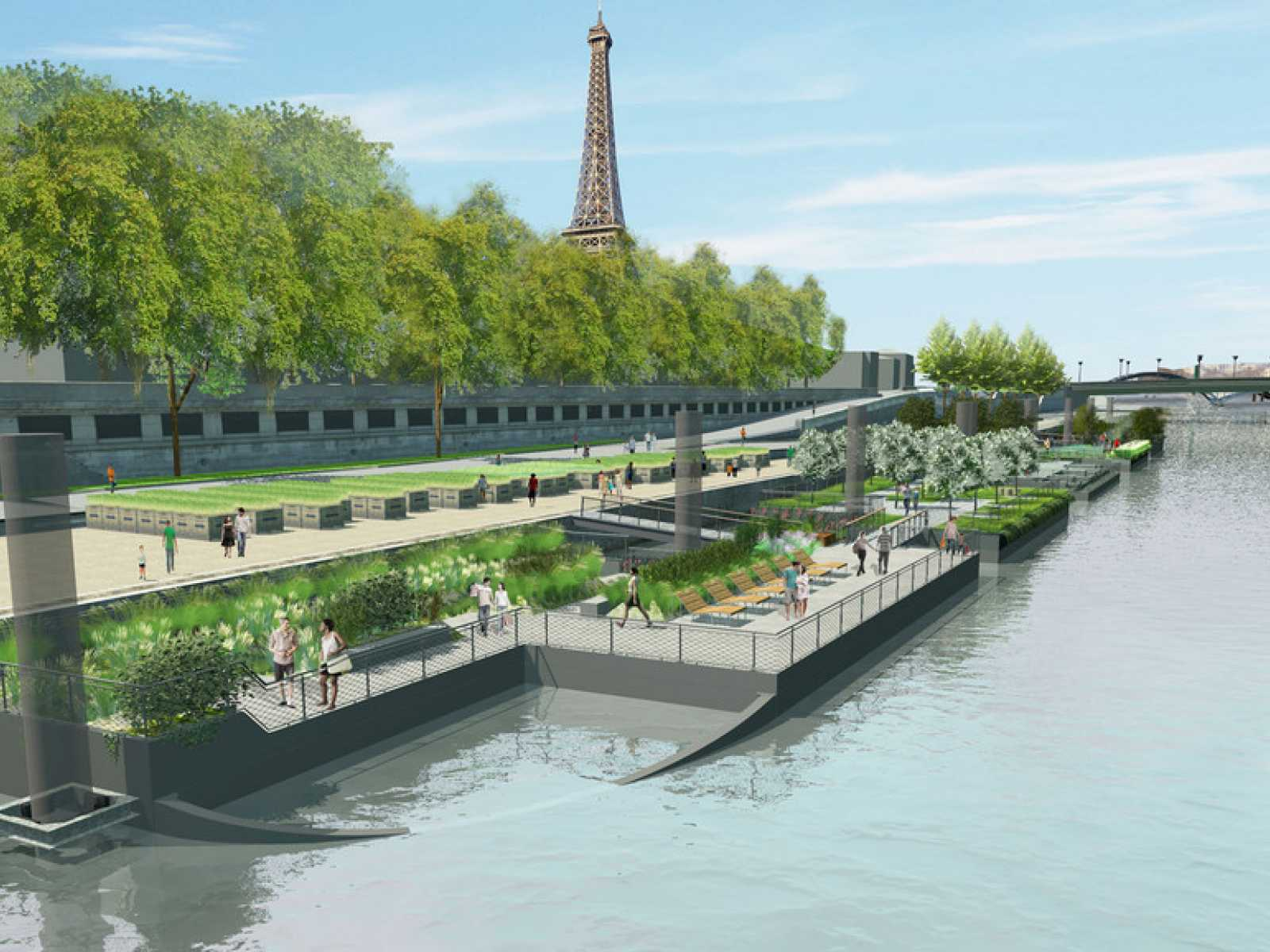 An archipelago of floating gardens on the banks of the seine for Jardin flottant