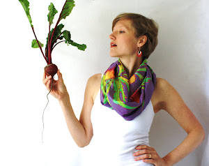 Silk Beet Circle Scarf Hand Painted