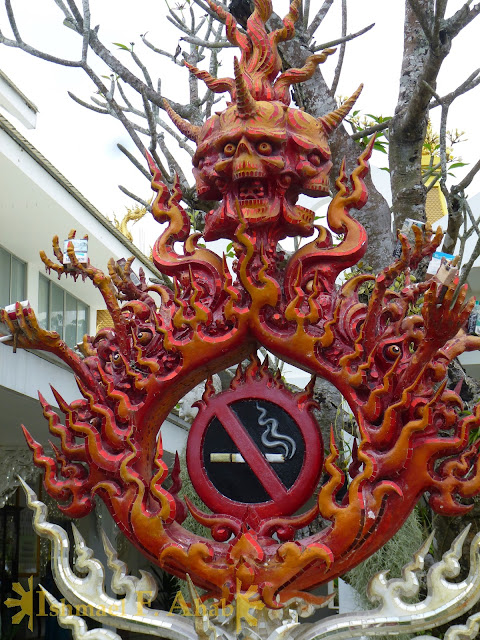 No Smoking sign in Wat Rong Khun, Chiang Rai, North Thailand