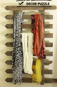 how to display scarves, overs door storage racks
