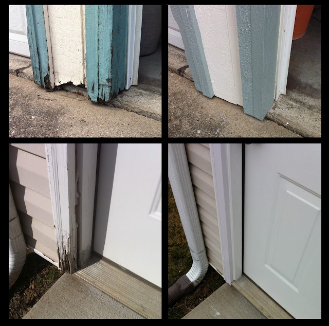 door casing and trim repaired door jam trim threshold and tile entry
