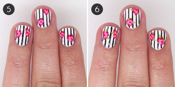 Floral-and-Stripes Nail Art