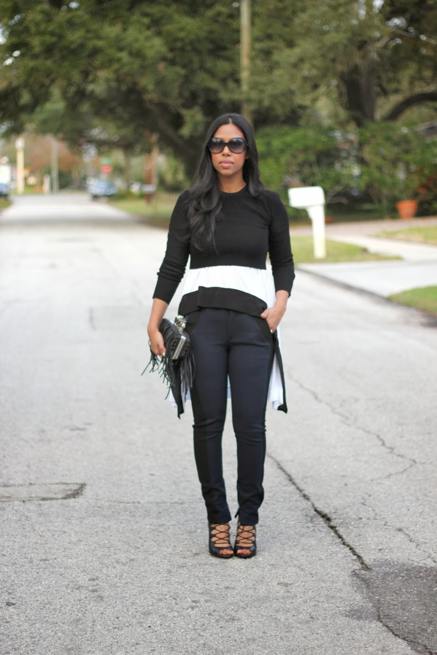 Fringe box clutch navy tuxedo pant asos zara fendi sunglasses