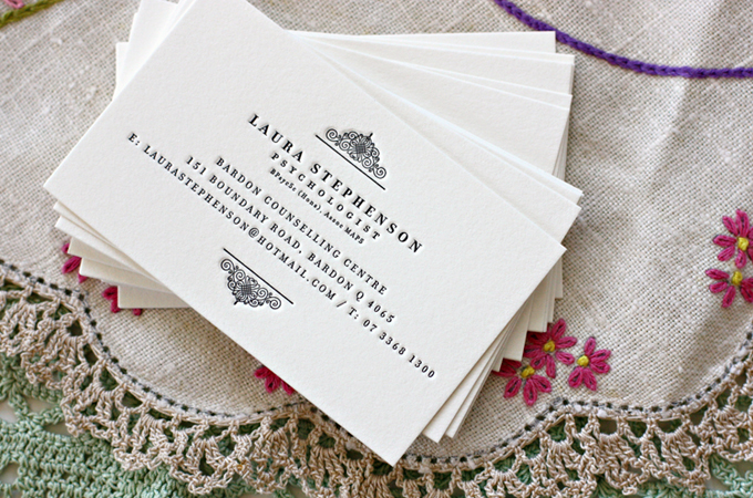 Bespoke press lovely letterpress business cards images above of lovely letterpress business cards which we designed and letterpress printed for brisbane local laura who was after beautiful business cards reheart Images