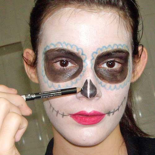 dibujar nariz en disfraces de catrina