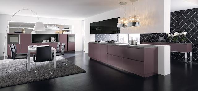 Cuisine design violette sans poignée style baroque par ALNO