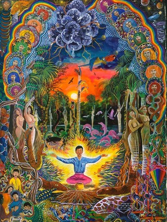 Pintura de Pablo Amaringo (1938-2009), pintor e professor de arte na sua escola Usko Ayar em Pucullpa, Peru
