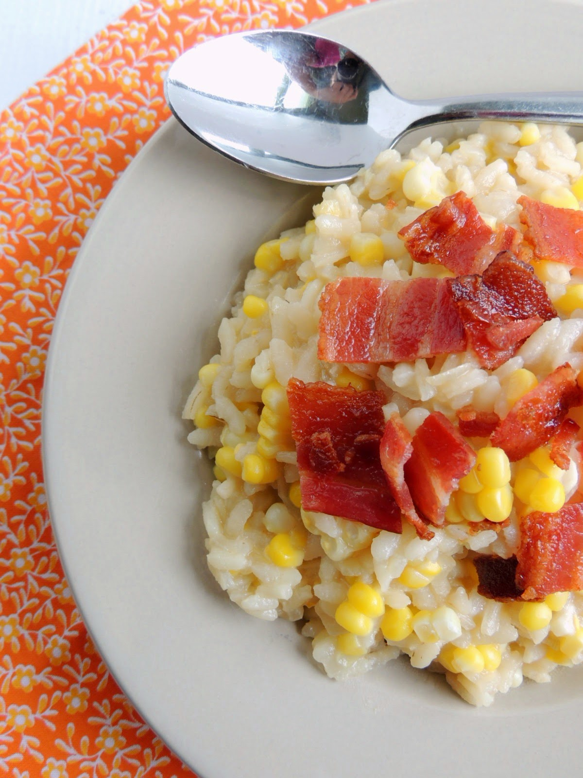 Bacon and Corn Risotto via thefrugalfoodiemama.com