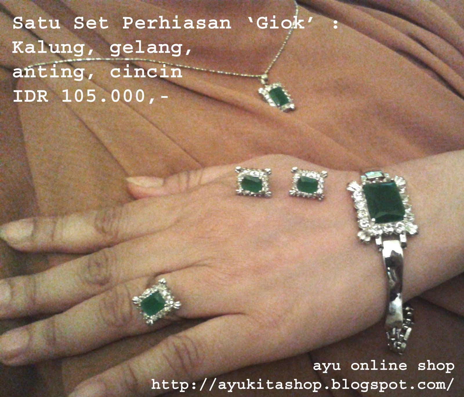 Harga Dan Spesifikasi Perhiasan 1 Set Termurah 2018 Rhodium Ayukitashop Fashion Jewerly Po Satu Bagus Murah Giok Batu Hijau Berkualitas Rantai Stainles