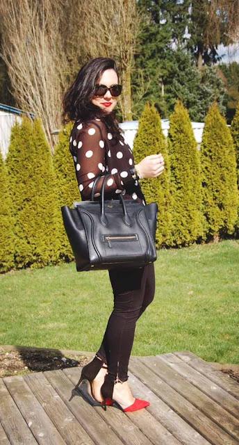 Polka dot blouse, J brand jodphurs, Zara colorblock heels and a Celine Mini Luggage bag.