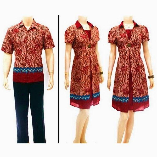 Baju Pasangan Batik Sarimbit Dress Rama Mega Mendung Merah.