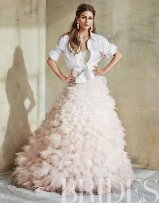 vestido de noiva rosa e camisa Monique Lhuillier com Olivia Palermo em Brides Magazine