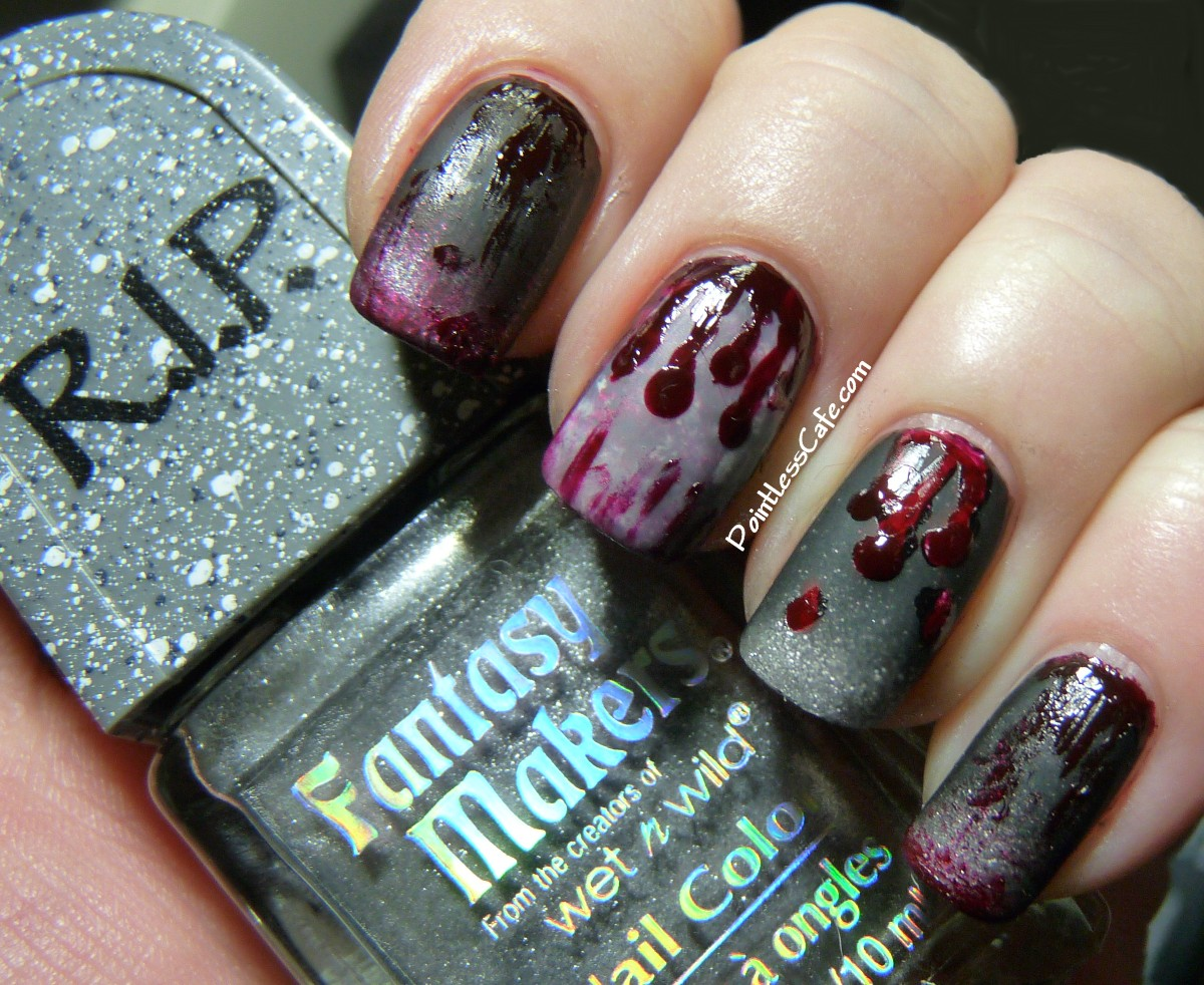 Halloween Nail Art - Zombie Nails! - Halloween Nail Art - Zombie Nails! Pointless Cafe