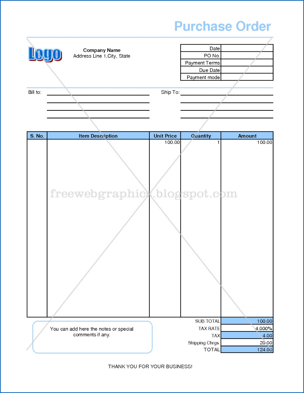 Templates and Graphics Online Excel Purchase Order Format – Purchase Order Format