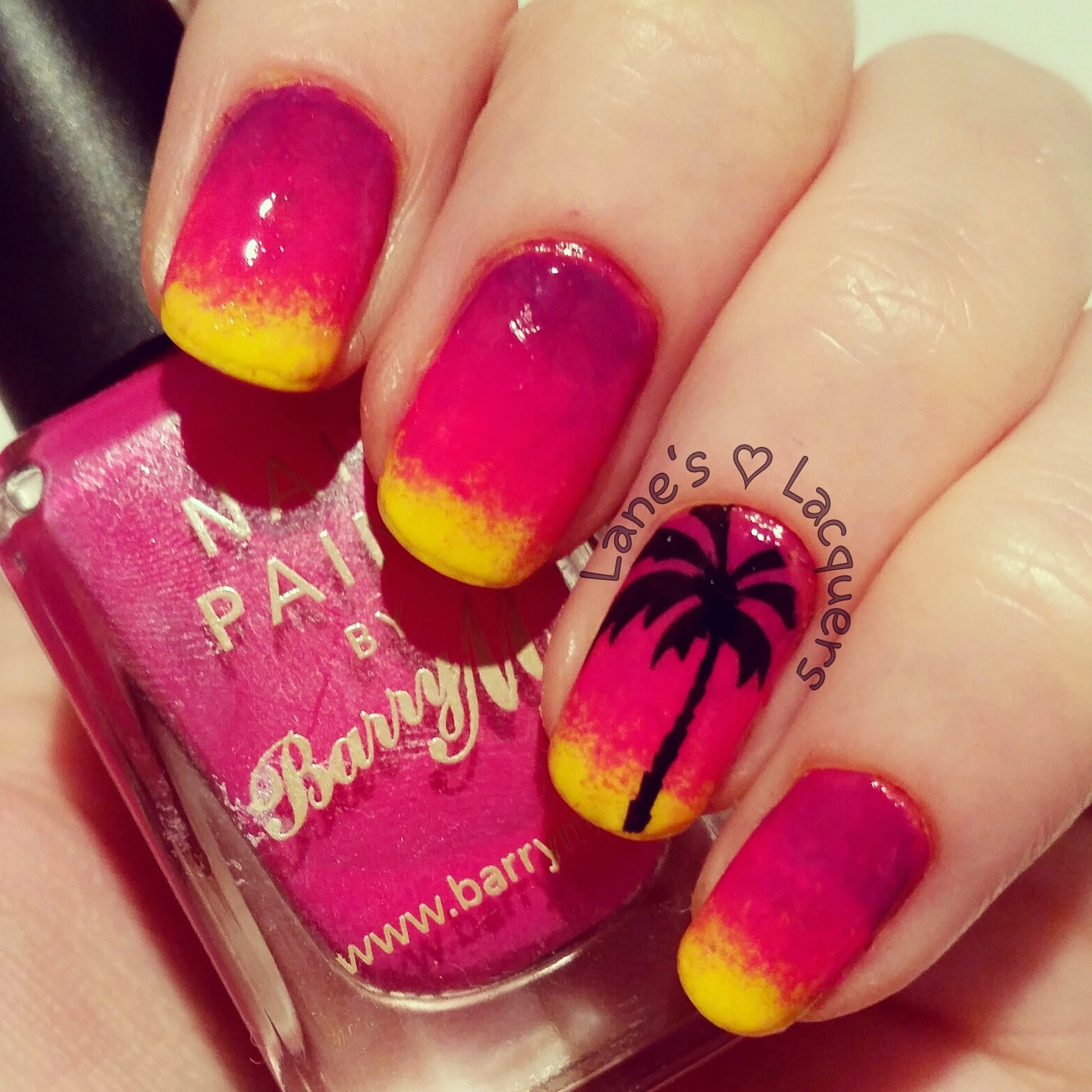 barry-m-beach-sunset-palm-tree-ombre-tranquility-nail-art