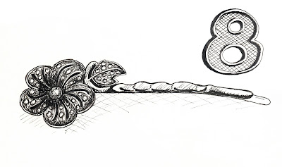 EDM 8 - Jewelry, Pretty Hair Pin, Gift from Husband. Pen and Ink rendering by Ana Tirolese ©2012