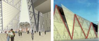 شكل توضيحي يُبيّن الواجهة الرئيسية للمتحف المصري الكبير ويظهر التشكيل الزجزاجي المتبع في تشيدها من خلال القوائم الإنشائية المحددة لوحدة المثلث
