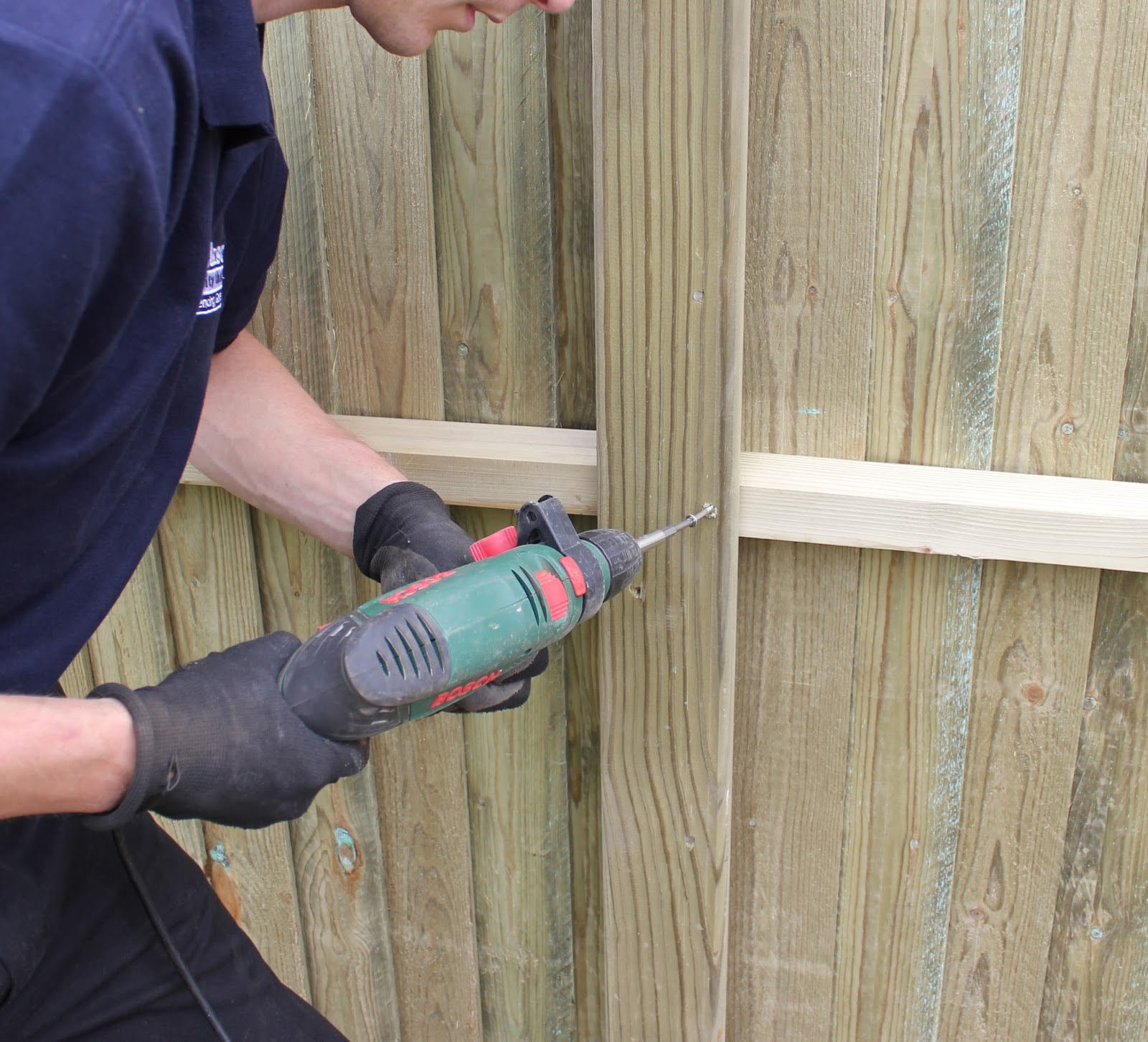 Garden fencing gates and more concrete or wooden fence posts a torx head screw through the post and into the rail on the fence panel baanklon Gallery